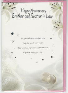 Wedding Anniversary Gift For Brother In Law : in law wedding anniversary message outside happy anniversary brother ...